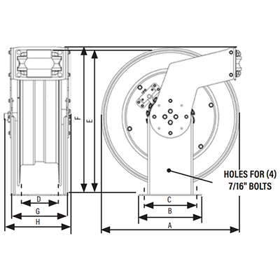 Dimensions for EV Hose Reels