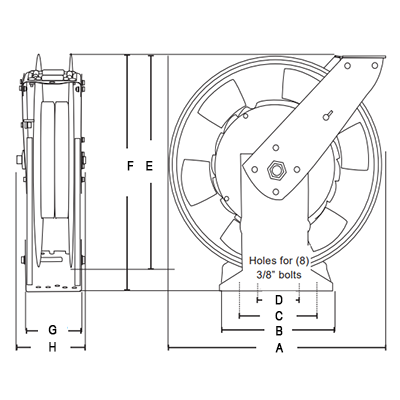 Dimensions for Premium Hose Reels